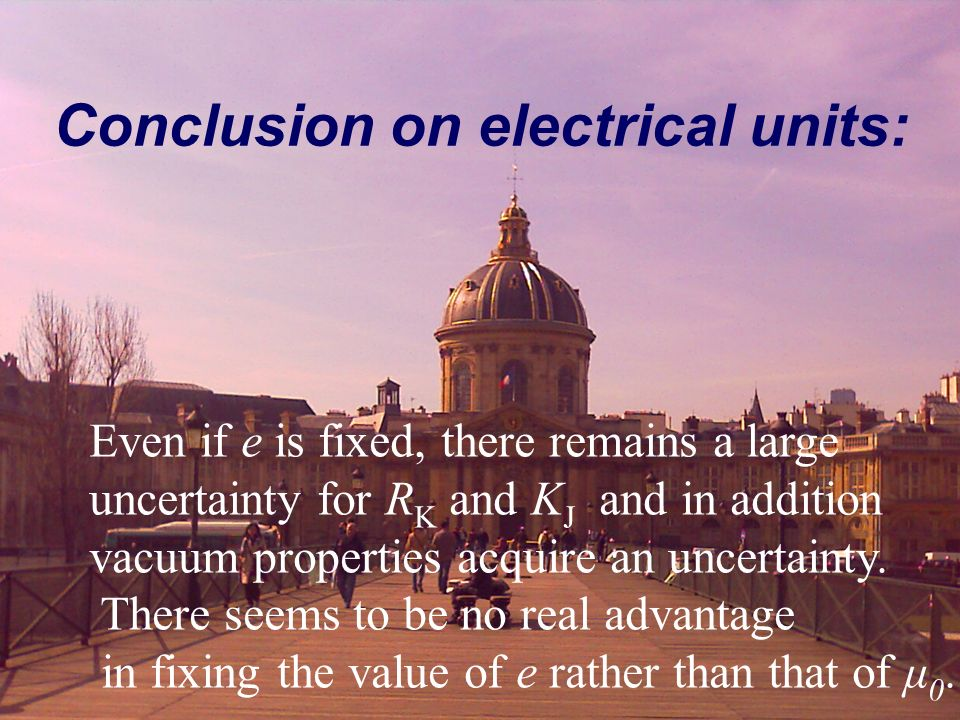 Conclusion on electrical units: