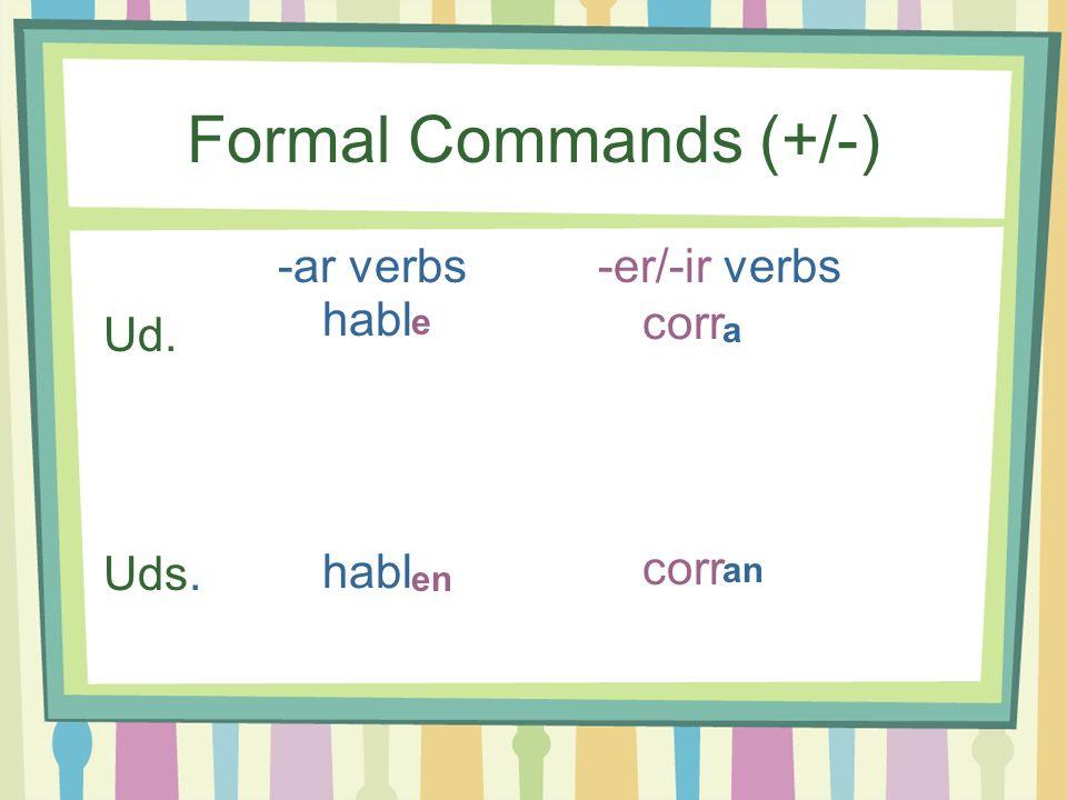 Formal Commands (+/-) -ar verbs -er/-ir verbs Ud. habl corr Uds. habl