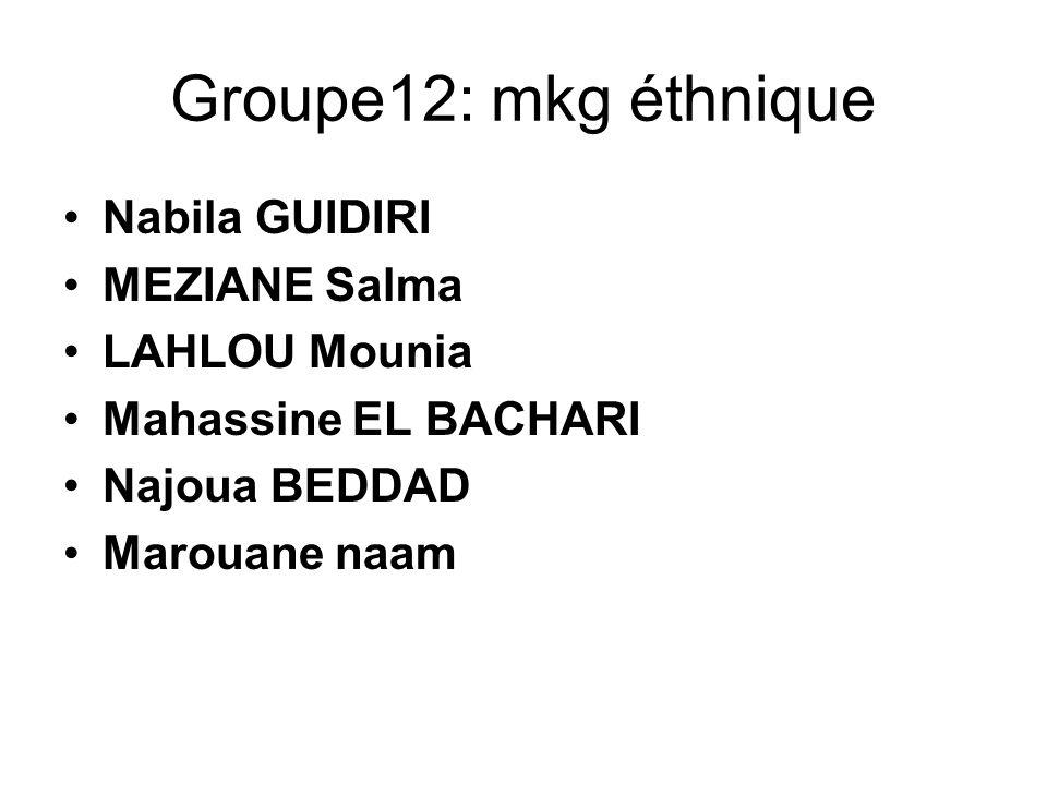 Groupe12: mkg éthnique Nabila GUIDIRI MEZIANE Salma LAHLOU Mounia
