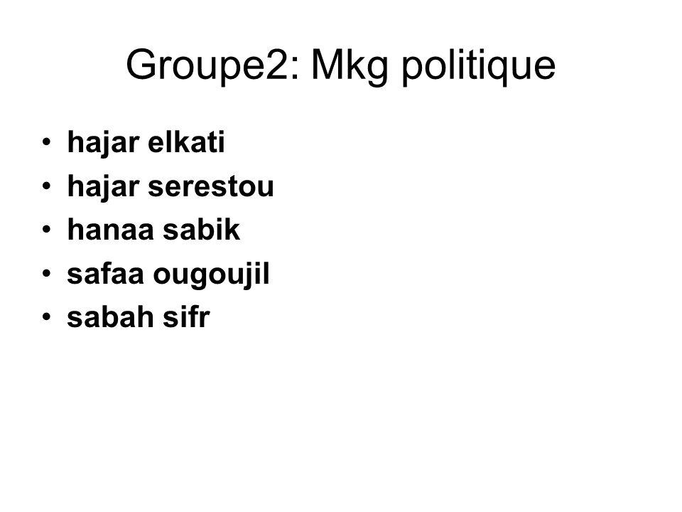 Groupe2: Mkg politique hajar elkati hajar serestou hanaa sabik