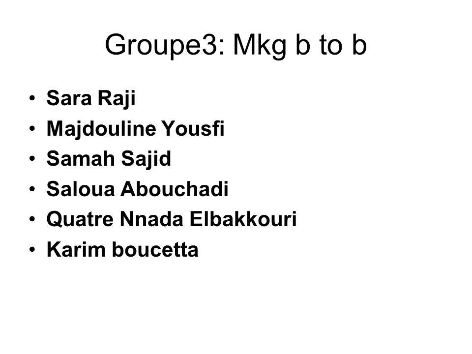 Groupe3: Mkg b to b Sara Raji Majdouline Yousfi Samah Sajid
