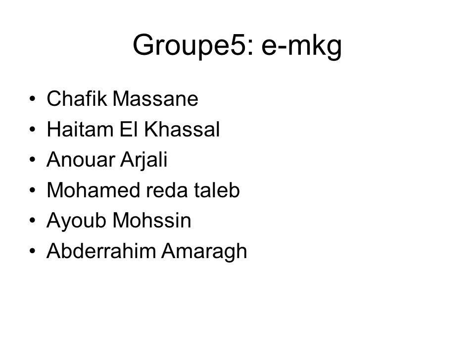 Groupe5: e-mkg Chafik Massane Haitam El Khassal Anouar Arjali