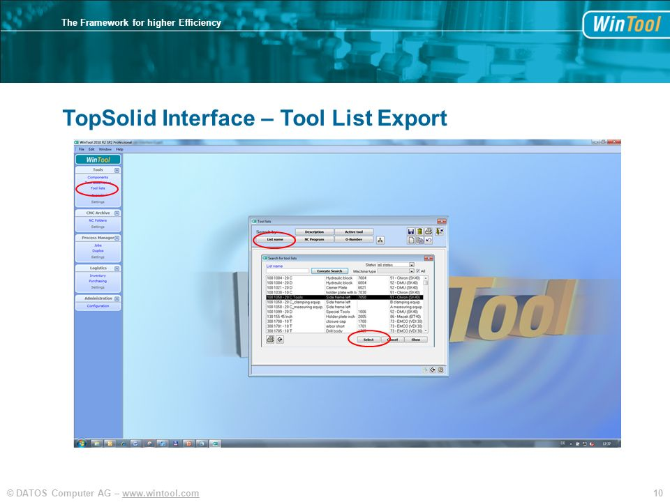 TopSolid Interface – Tool List Export