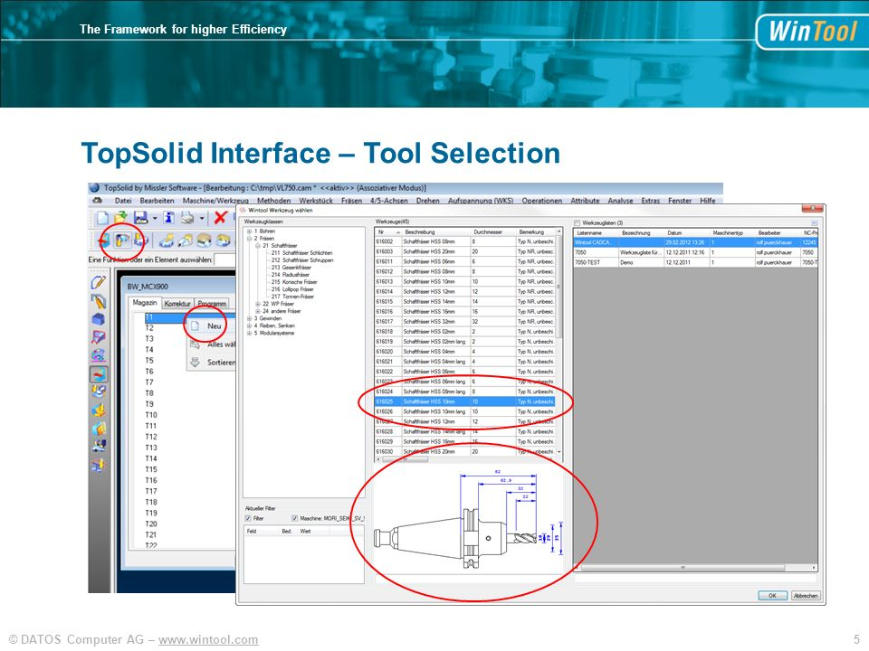 TopSolid Interface – Tool Selection
