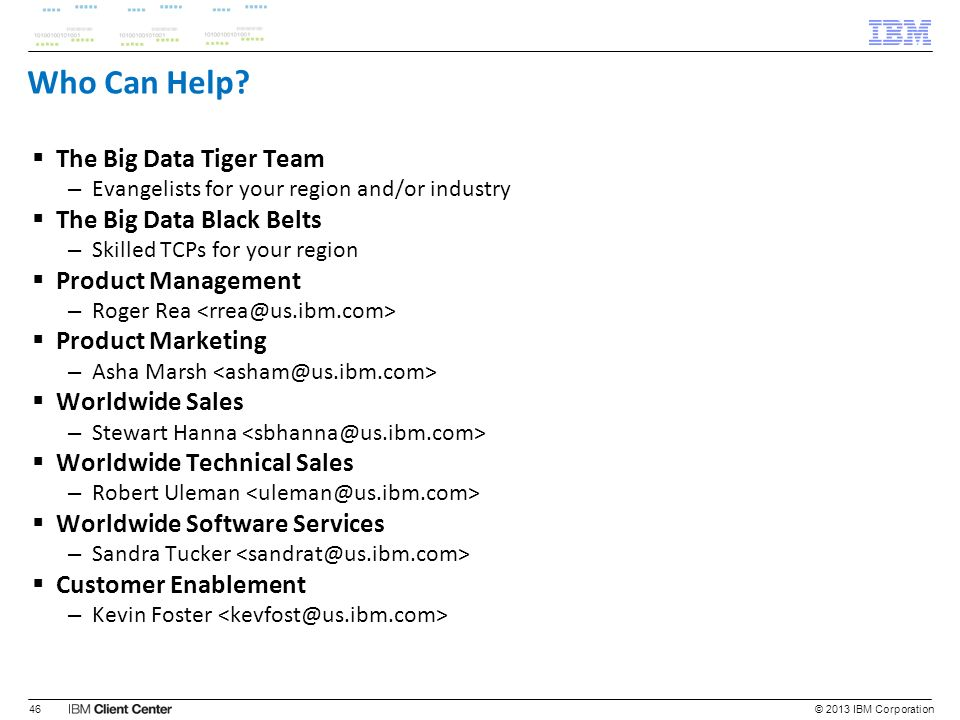 Who Can Help The Big Data Tiger Team The Big Data Black Belts