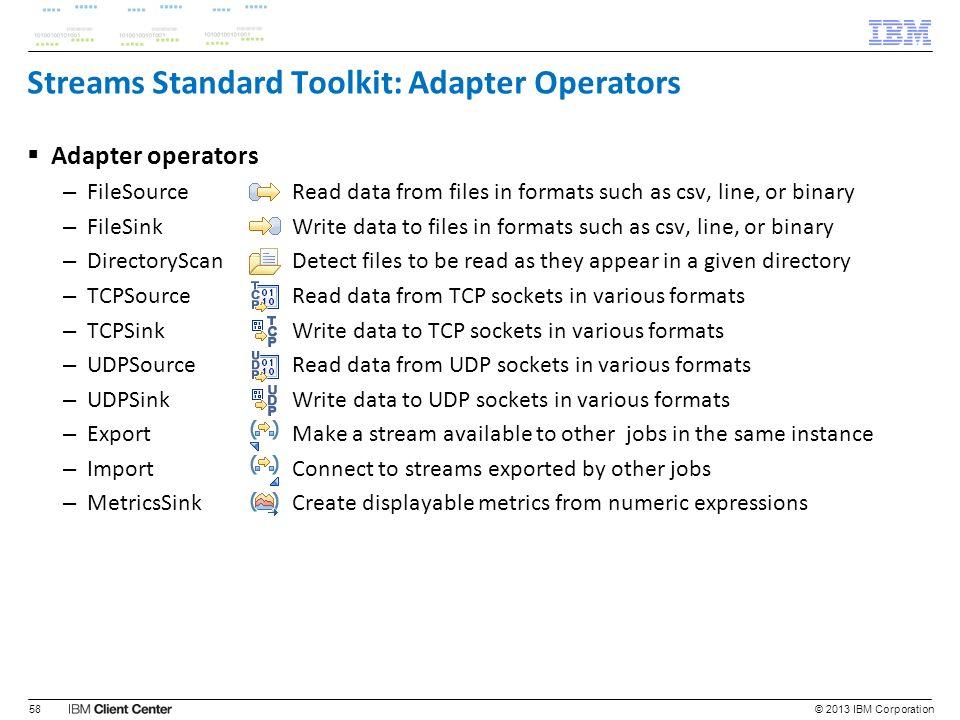 Streams Standard Toolkit: Adapter Operators