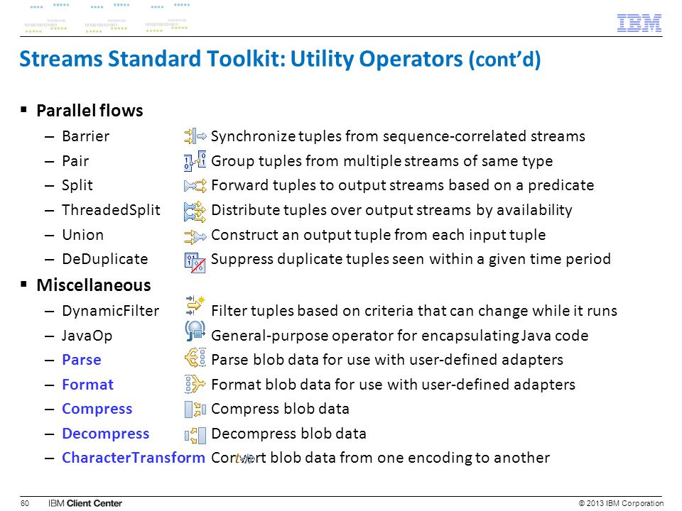 Streams Standard Toolkit: Utility Operators (cont'd)