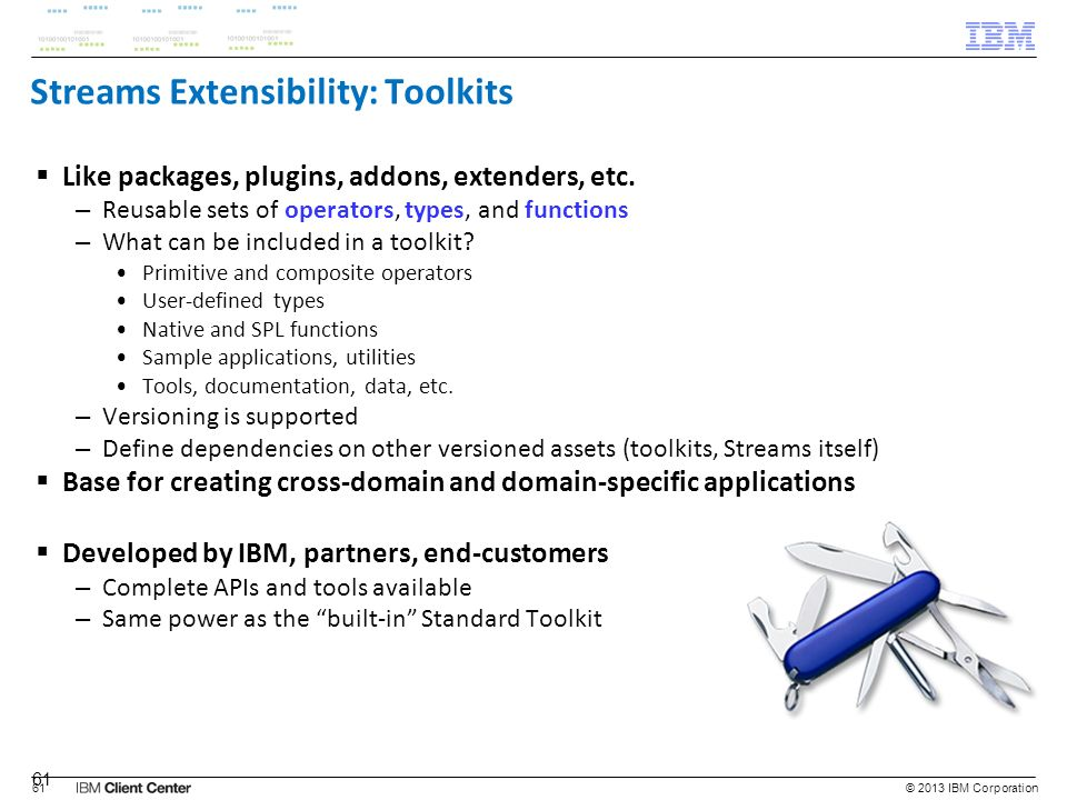 Streams Extensibility: Toolkits
