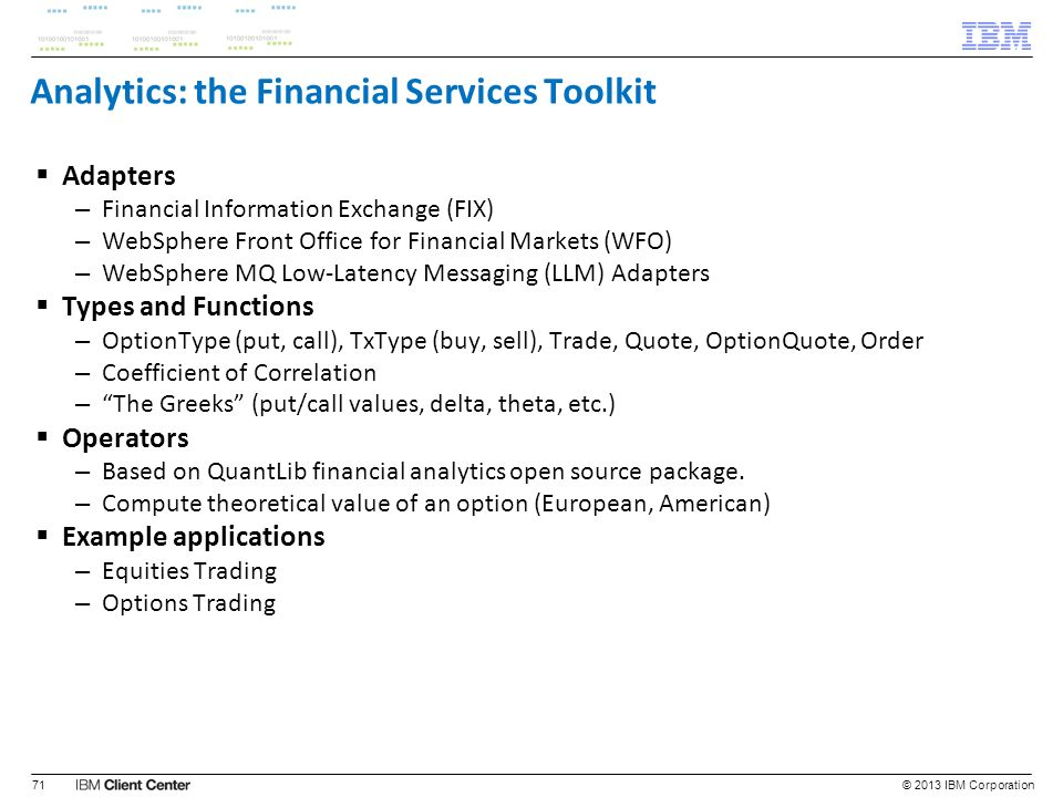 Analytics: the Financial Services Toolkit
