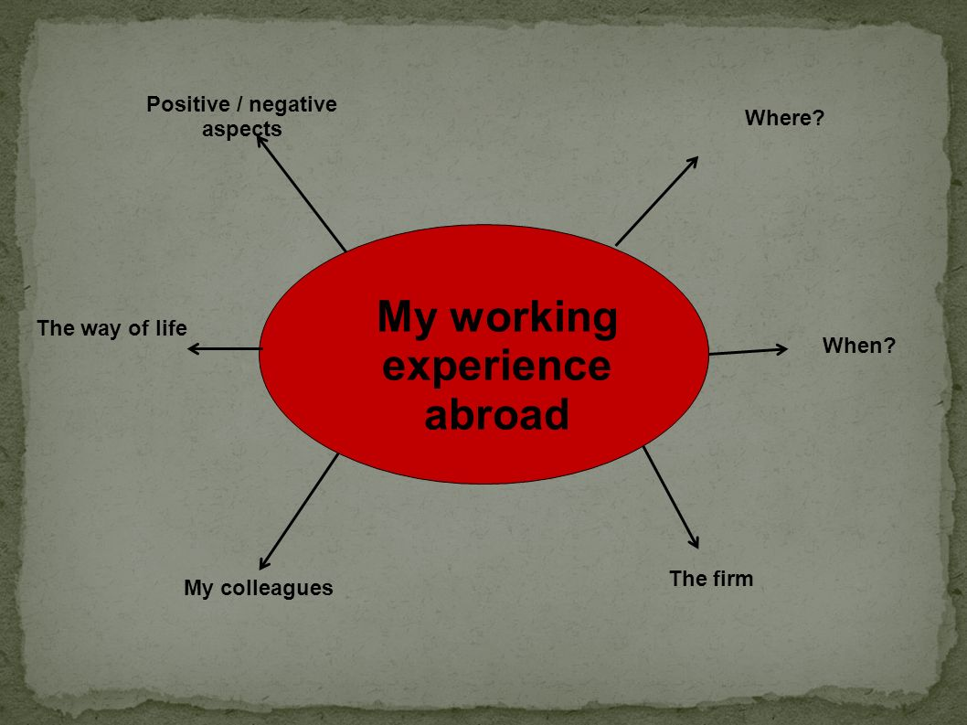 Positive / negative aspects My working experience abroad
