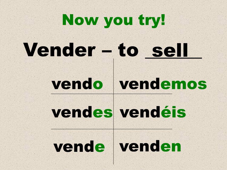 Vender – to ______ sell vendo vendemos vendes vendéis vende venden