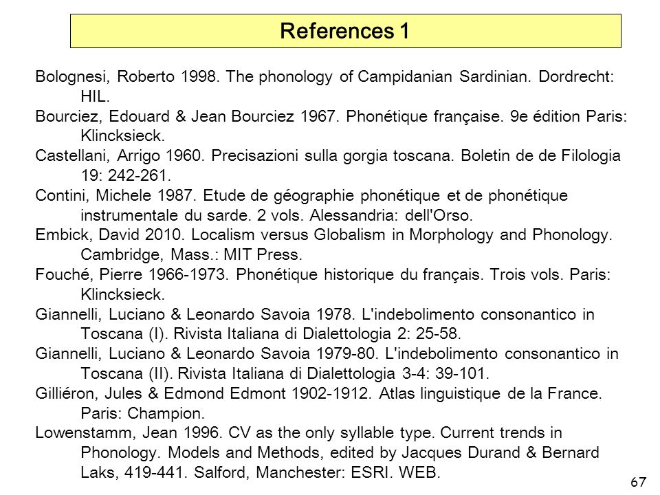 References 1 Bolognesi, Roberto 1998. The phonology of Campidanian Sardinian. Dordrecht: HIL.