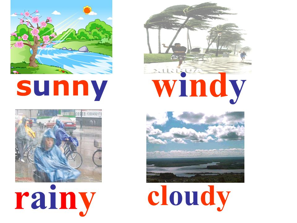 windy sunny rainy cloudy