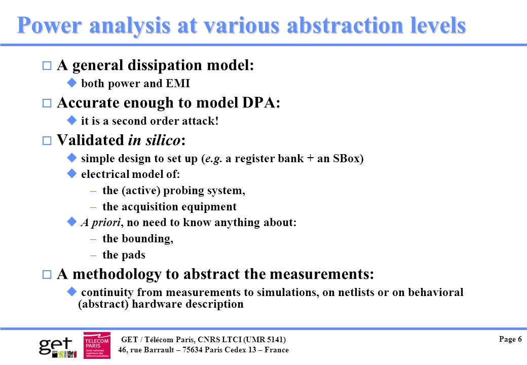 Power analysis at various abstraction levels