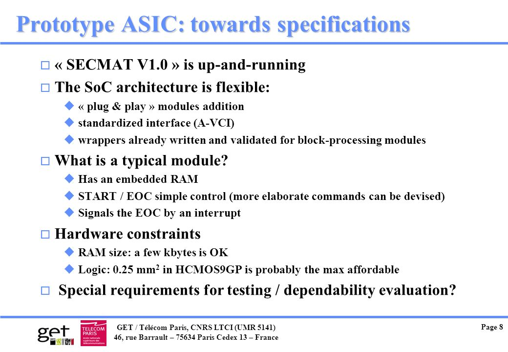 Prototype ASIC: towards specifications