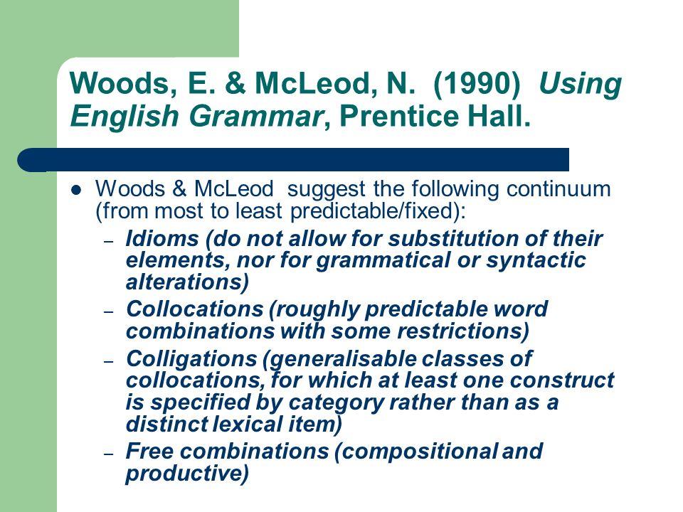 Woods, E. & McLeod, N. (1990) Using English Grammar, Prentice Hall.