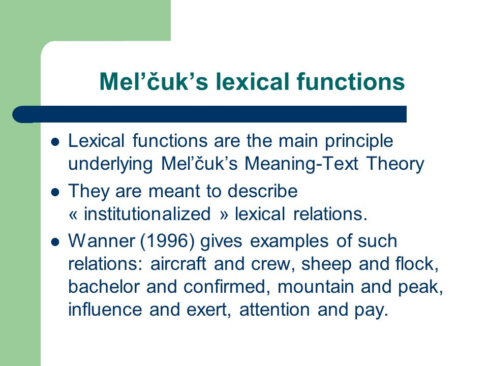 Mel'čuk's lexical functions