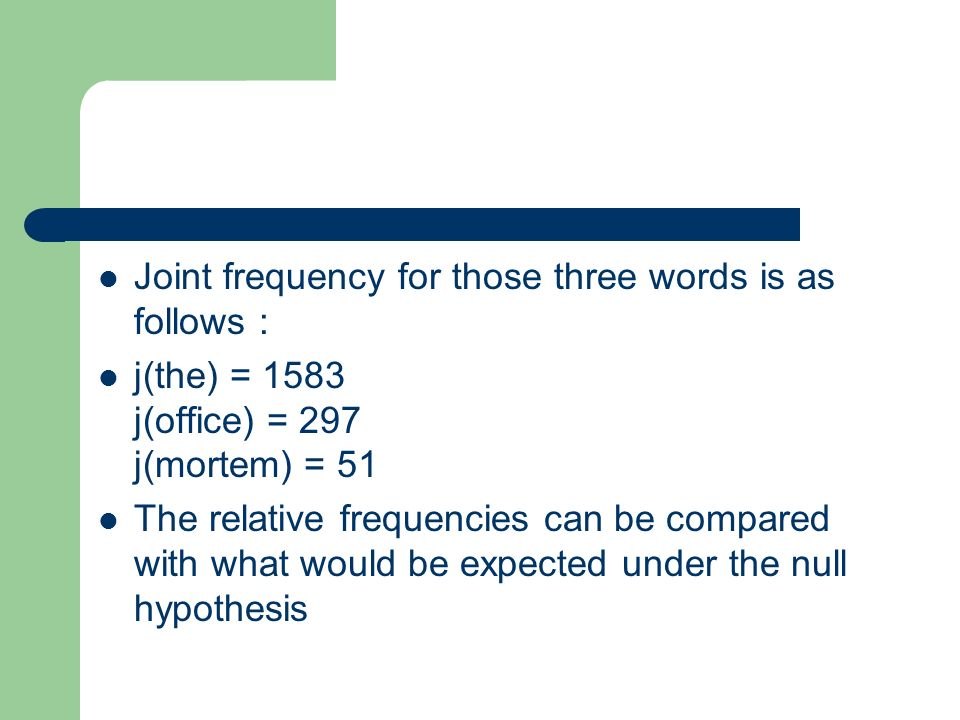 Joint frequency for those three words is as follows :