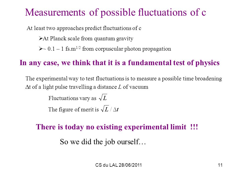 Measurements of possible fluctuations of c