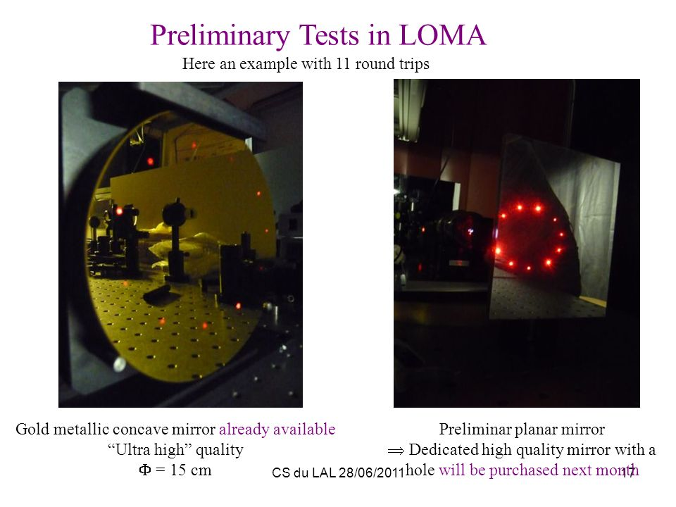 Preliminary Tests in LOMA