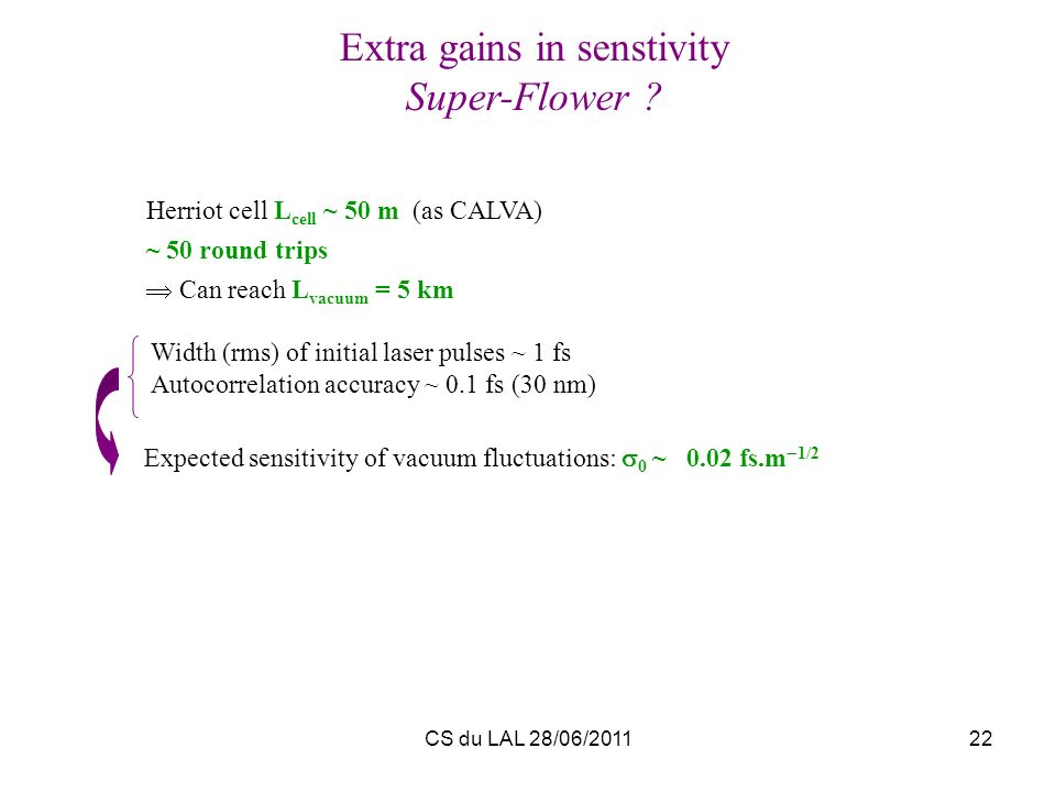 Extra gains in senstivity
