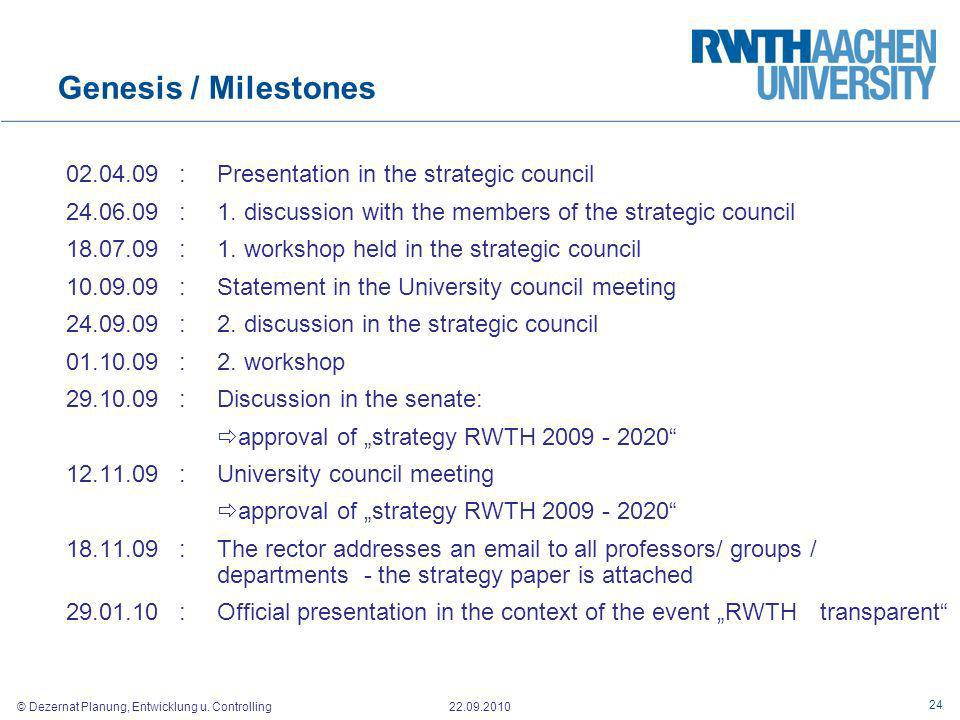 Genesis / Milestones 02.04.09 : Presentation in the strategic council