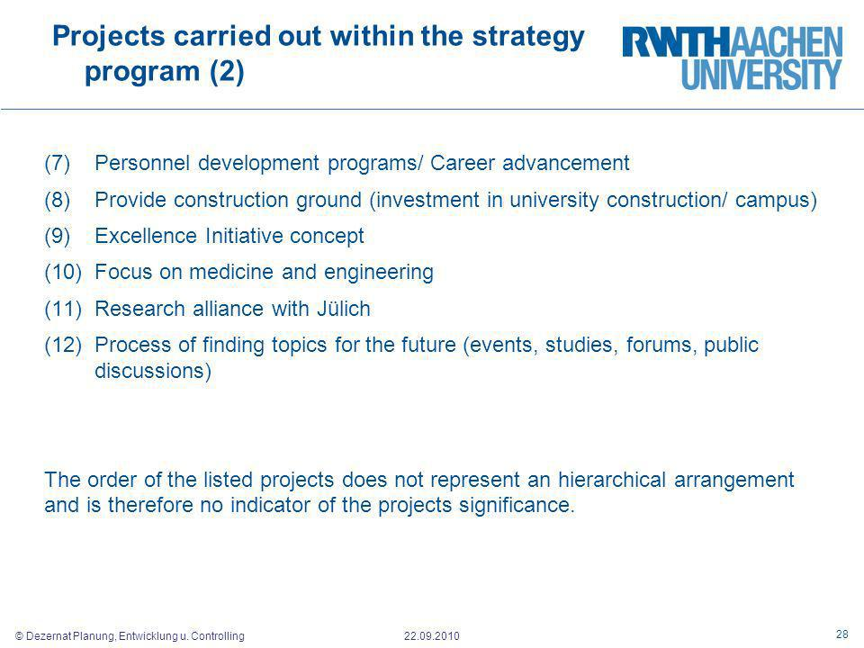 Projects carried out within the strategy program (2)