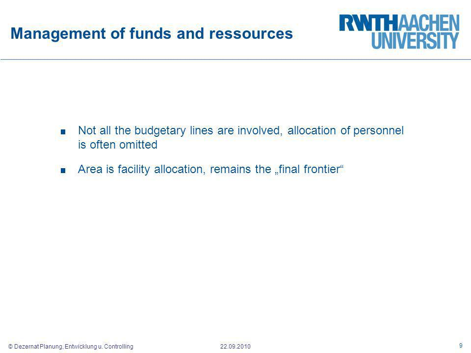 Management of funds and ressources