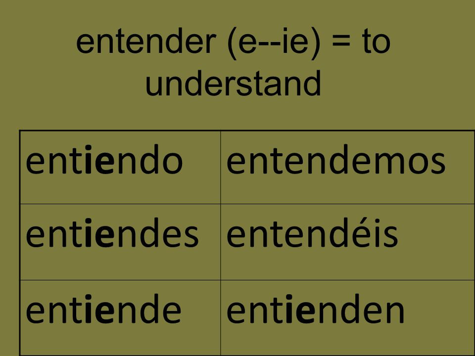 entender (e--ie) = to understand