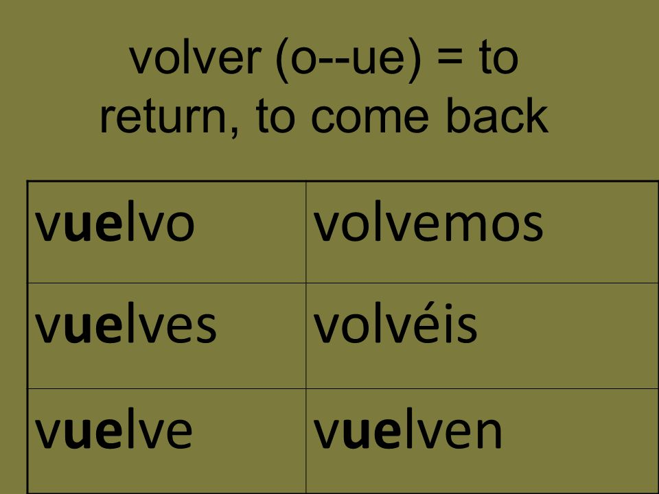 volver (o--ue) = to return, to come back