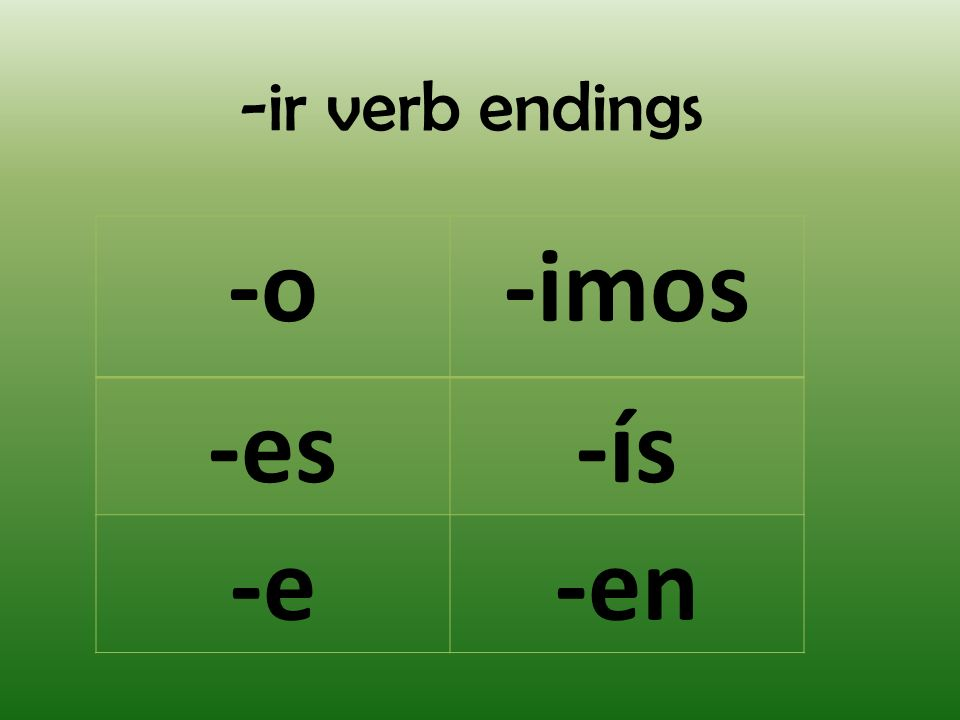 -ir verb endings -o -imos -es -ís -e -en