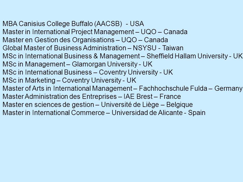 MBA Canisius College Buffalo (AACSB) - USA