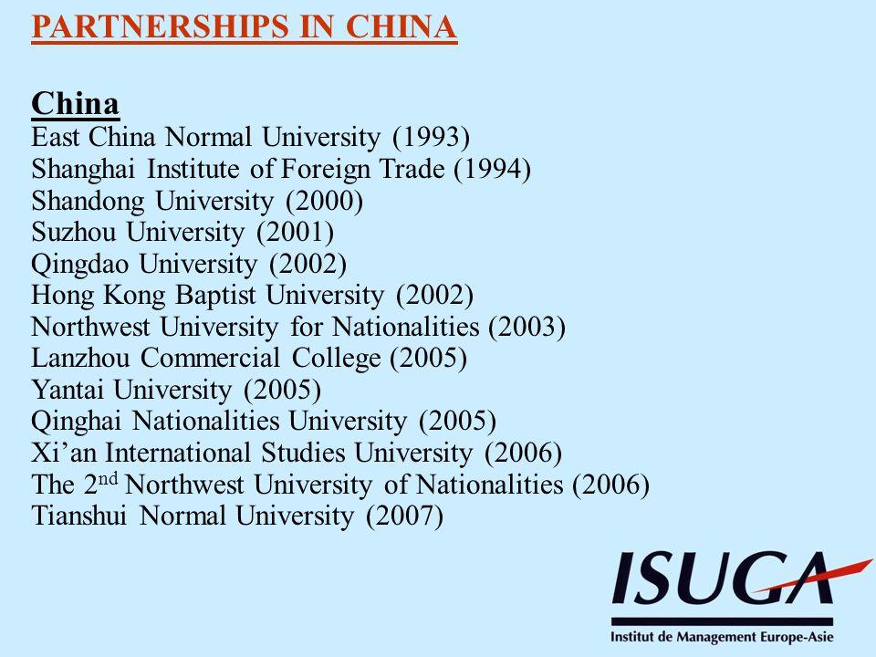 PARTNERSHIPS IN CHINA China