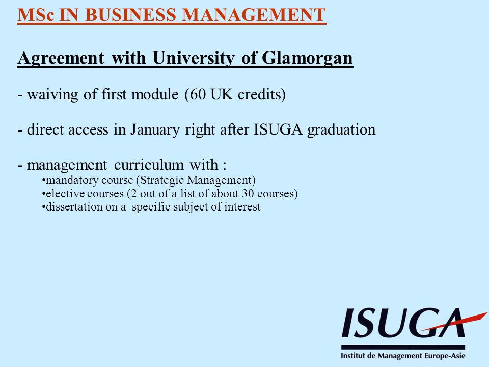 MSc IN BUSINESS MANAGEMENT