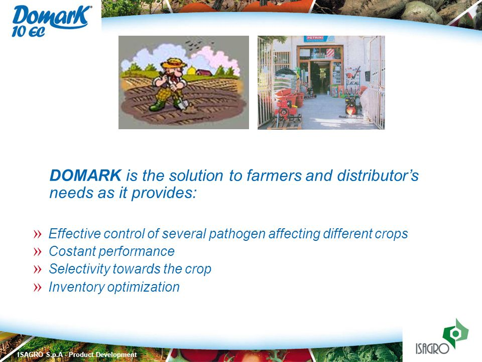 DOMARK is the solution to farmers and distributor's needs as it provides: