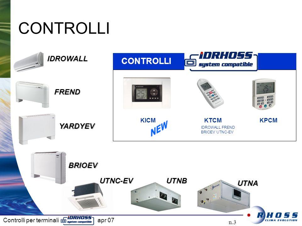 CONTROLLI NEW CONTROLLI IDROWALL FREND YARDYEV BRIOEV UTNC-EV UTNB