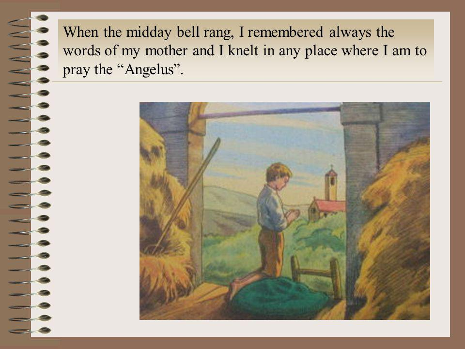 When the midday bell rang, I remembered always the words of my mother and I knelt in any place where I am to pray the Angelus .