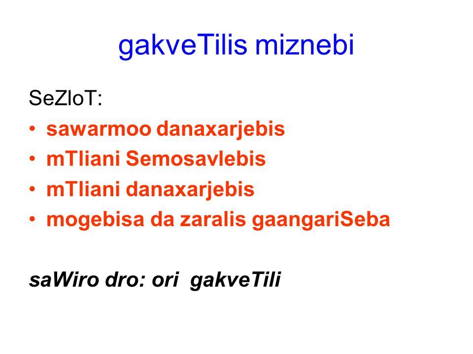 gakveTilis miznebi SeZloT: sawarmoo danaxarjebis mTliani Semosavlebis