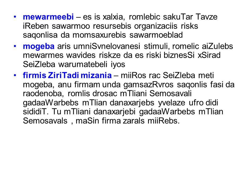 mewarmeebi – es is xalxia, romlebic sakuTar Tavze iReben sawarmoo resursebis organizaciis risks saqonlisa da momsaxurebis sawarmoeblad