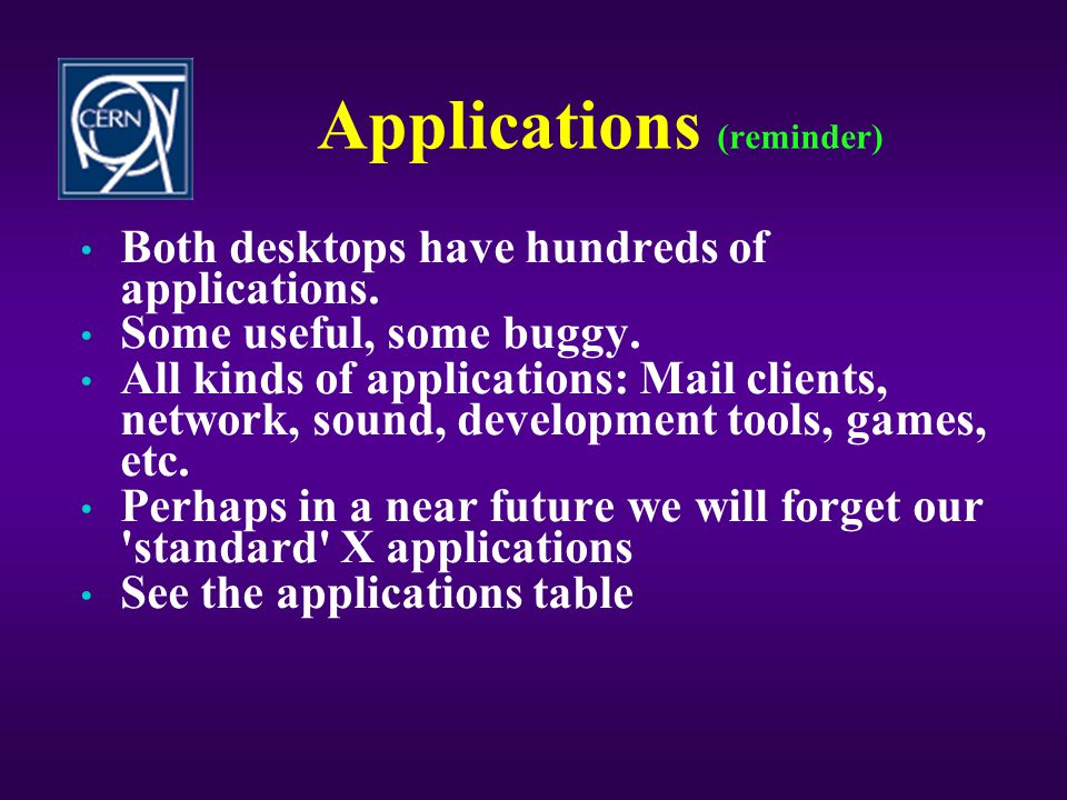 Applications (reminder)