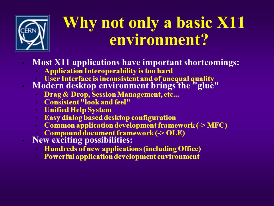 Why not only a basic X11 environment