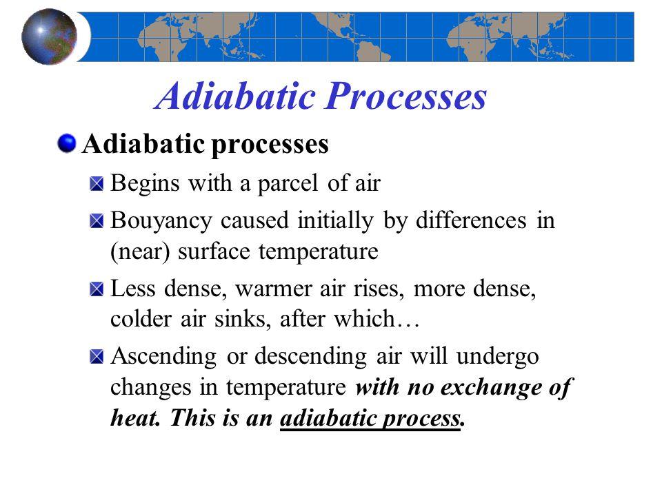 Adiabatic Processes Adiabatic processes Begins with a parcel of air