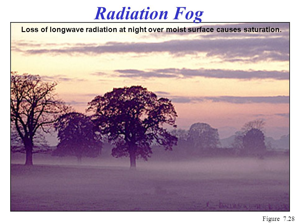 Radiation Fog Loss of longwave radiation at night over moist surface causes saturation.