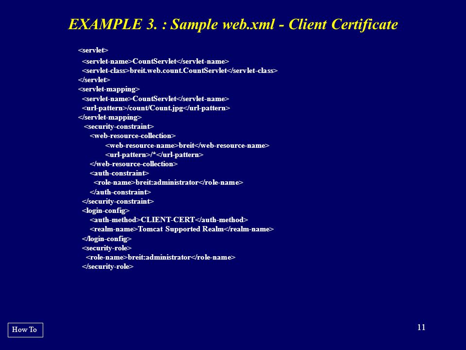EXAMPLE 3. : Sample web.xml - Client Certificate