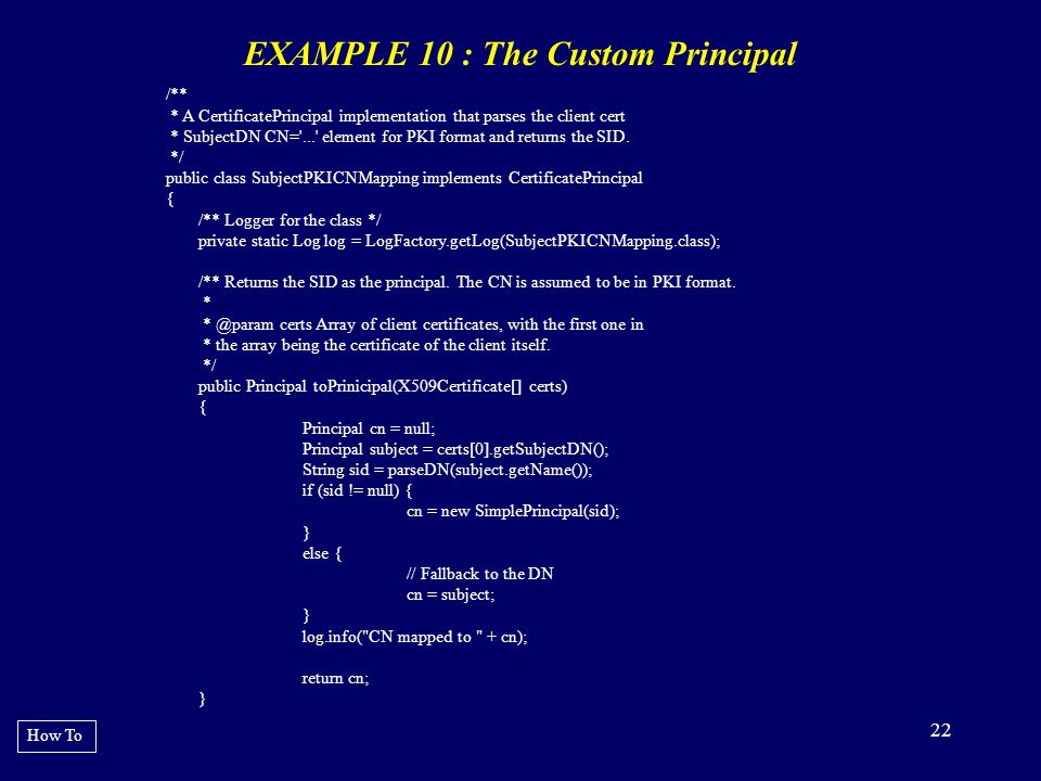 EXAMPLE 10 : The Custom Principal