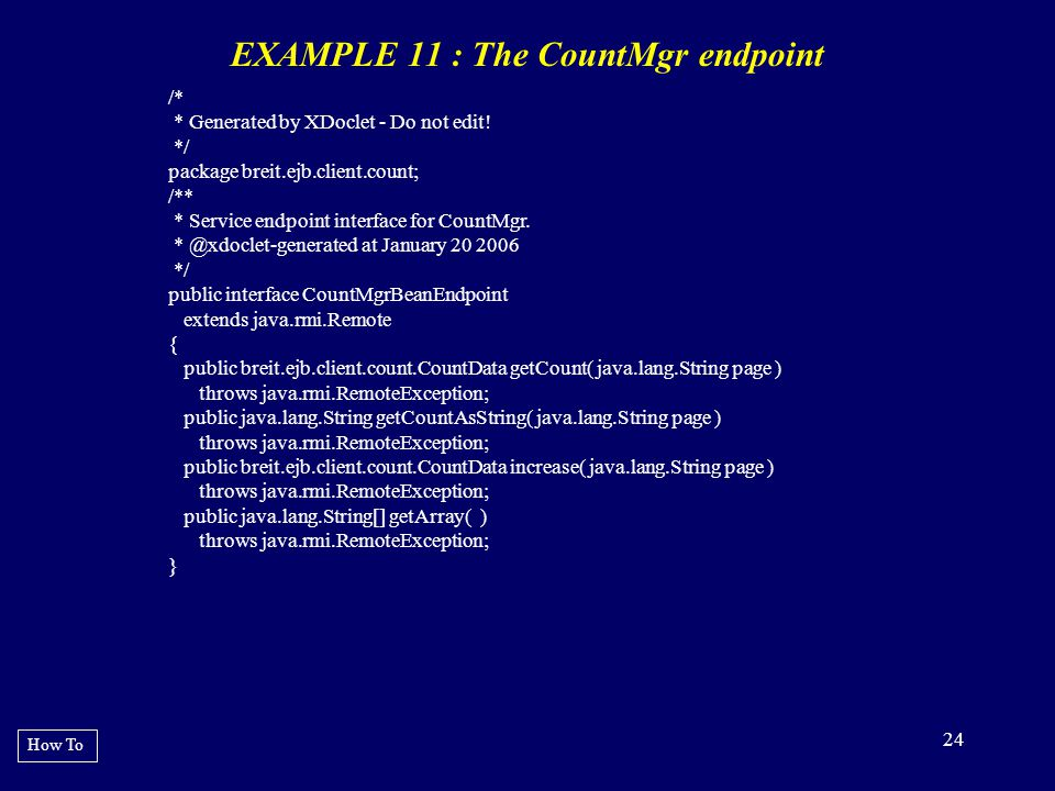EXAMPLE 11 : The CountMgr endpoint