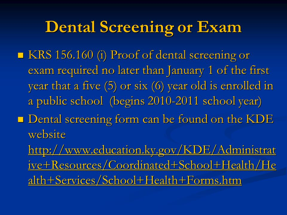 Dental Screening or Exam