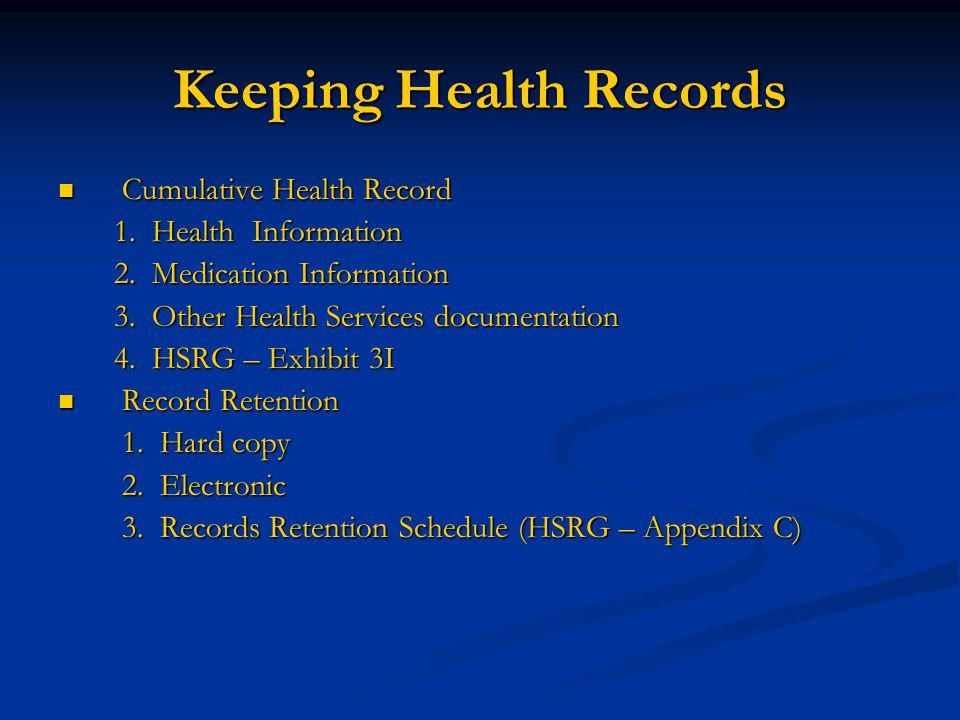 Keeping Health Records