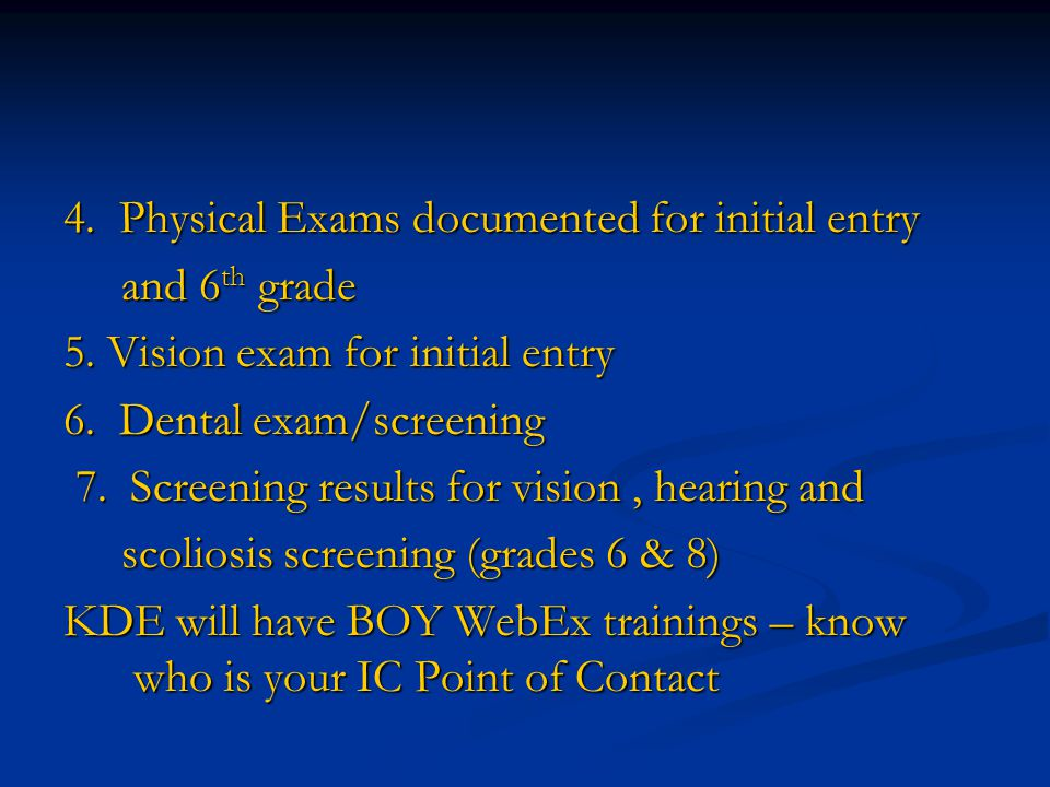 4. Physical Exams documented for initial entry