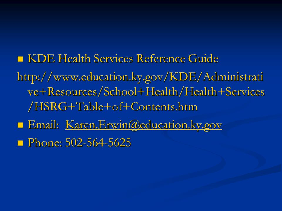 KDE Health Services Reference Guide